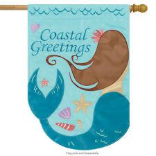 """Mermaid Applique Summer House Flag Nautical Seashells Ocean 29"""" x 42"""""""