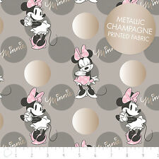 Disney Minnie Jumbo Dot in Grey Metallic Camelot 100% cotton fabric by the yard