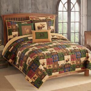 The Lodge Full/Queen Quilt w/shams 3pc Patchwork Moose Bear Deer Plaid Green Tan