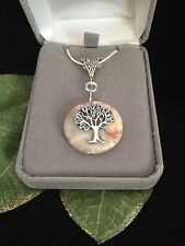 """Tree of Life Natural Agate Gemstone Pendant Necklace Sterling Silver 18"""""""