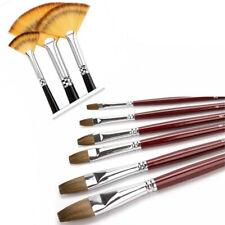Flat Kolinsky Sable Hair with Nylon Taklon Fan Brush 9pcs Artist Paint Brush set