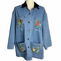 Vintage Denim Shirt Barn Jacket Shacket L Embroidered Birds Pockets