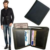 portafoglio uomo pelle verticale slim nero da porta carte di credito in vera