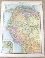 1891 Antique Map of Bolivia Peru Columbia Ecuador Venezuela Old 19th Century