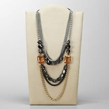 FOSSIL Brand Tri-Tone Layered Multi Stone Chain Long Leather Necklace NWT $198