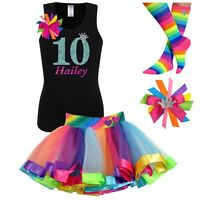 Personalized Happy Birthday Party Cupcake T Shirt Girls Gift match Tutu 8th 10th