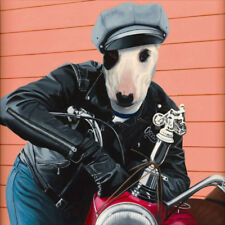 "BULL TERRIER ENGLISH DRESSED DOG COMIC ART PRINT - ""Marlon"" (Brando) Motorcycle"