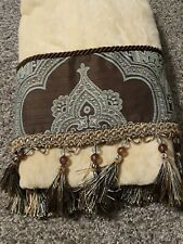 Croscill Home Towel Brown & Blue Fringed Beaded 1 bath towel 53x27