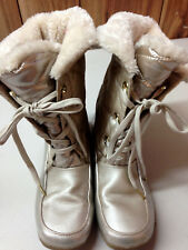 Sporto Cold Boots Rose Gold Lace Up Faux Fur Lined Women's size 6 M