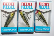 3 lures rebel teeny pop r ol' bass bass popper topwater surface lure p5017