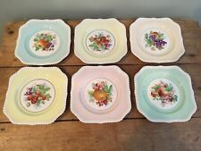 Johnson Brothers Old English FRUIT Pastel Square 6 Salad Plates Excellent!