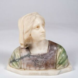 Antique Italian Pink Green & White Marble Bust of Joan of Arc Joan D'Arc