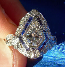 20s Art Deco Diamond Sapphire Platinum Engagement Ring Antique Vintage Solitaire
