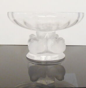 Signed Lalique Nogent Bowl Sparrow Birds Crystal Pedestal ~ Free Shipping
