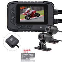DV688 Motorcycle Dash Cam DVR Camera Twin Lens 1080P w/ GPS Module + 64GB Card