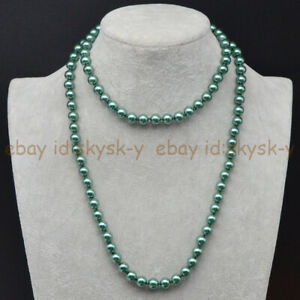 Long 36'' Women's 8mm Multi-color South Sea Shell Pearl Round Beads Necklace AAA