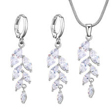 2pc/Lot Leave Shaped White Morganite Topaz Gems Silver Women Necklace + Earrings