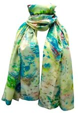 Womens Shawl Scarf Silk Blend 185 x 75 cm Multicolour Printed Patterns New