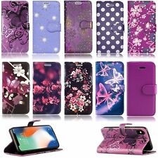 PURPLE PRINTS LEATHER WALLET BOOK CASE FOR SAMSUNG GALAXY S3 S5 S6 S7 S8 & S8+