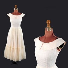 Vintage 50s Pink + White Sheer Organza Eyelet Lace Party Prom Evening Dress S