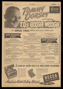 1950 Tommy Dorsey photo Decca Records trade print ad