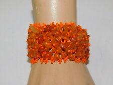 "Agate Pebble Stone Orange Seed Bead 1.75"" Wide Stretch Bracelet 7g 34"