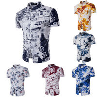 Summer T-Shirt Mens Floral Printed Short Sleeve Blouse Button Casual Top Linen