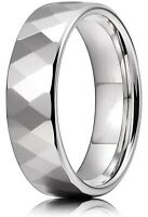 8MM Muti-Faceted Diamond Cut Tungsten Ring for Men Women Wedding Engagement Band