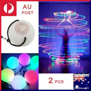 2x Light Up Poi Thrown Balls LED Glow Light Upfor Rave Belly Dancer Hand Prop OZ