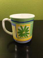 Milk Glass Flower Coffee Mug Tea Cup Luminarc Arcoroc France Fully Tempered Blue