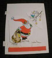 "CHRISTMAS Santa Claus Cartoon Partridge Pear Tree 5x6.5"" Greeting Card Art #B9"