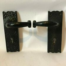 Gothic Style Door Handles with Key Hole Black in Black Cast Iron AB95