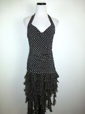 BCBG MAX AZRIA BLACK HALTER COCKTAIL TANGO POLKA DOT SILK FLAMENCO DRESS M 6 8