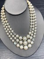"""Vintage 1950S Faceted Pearl Aurora Borealis Crystal Three Strand Necklace 17-19"""""""