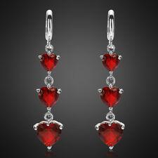 Sale! Lady Gift Heart Cut Red Ruby Garnet 18K White Gold Plated Gp Hoop Earrings
