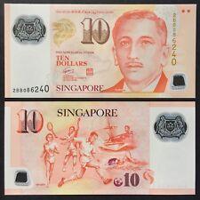 2004 SINGAPORE PORTRAIT POLYMER 10 DOLLARS W/NO SYMBOL P-48a UNC *BB PREFIX*