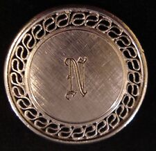 """Signed A & Z Sterling Silver Letter """"N"""" Initial Ornate Brushed Circle Brooch Pin"""