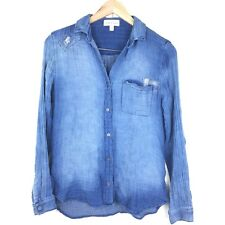 Cloth & Stone Button Down XS XSMALL Chambray Distressed Patchwork Top Blouse