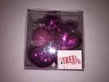 12 Christmas Holiday Valentine Plastic Mini Heart Ornaments Hot Pink Glitter
