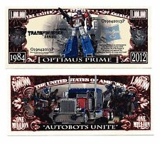 TRANSFORMERS  OPTIMUS PRIME   MILLION   DOLLAR  BILL