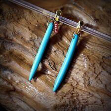 Boucles d`Oreilles Clips Cylindrique Fin Turquoise Argenté Retro Original E6