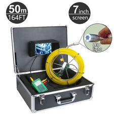 50m 164ft Pipe Amp Wall Video Snake Inspection System Pipeline Drain 7 Monitor