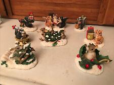 Charming Tails Christmas Lot 10 figurines Fitz Floyd Mice Rabbit Squirrel Acorn