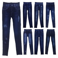 WOMEN JEGGINGS LEGGINGS ELASTIC WAIST SKINNY JEANS STYLE DENIM RIPPED JEGGINGS