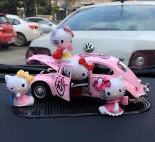 1pcs Cute Pink Hello Kitty Beatles Mini Car Model Ornament + 6pcs Resin Figures