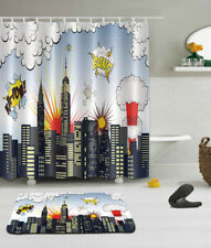 Superhero Shower Curtain City Hero Hot Couple Print for Bathroom