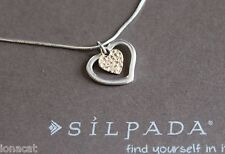 Silpada Sterling Silver Petite Open Heart 9kt Gold Pendant Chain Necklace N1543