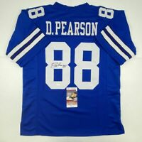 Autographed/Signed DREW PEARSON Dallas Blue Football Jersey JSA COA Auto