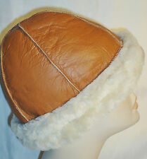 NEW Handmade Brown Sheepskin Beanie Round  Warm Hat Unisex Real Leather Earflaps