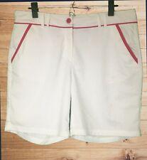 FILA Womens White Golf Shorts w Fuchsia Trim! 3 Pkt. Logo Double Belt Loop Sz 14